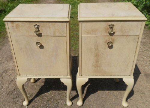 Pair Bleached Walnut Bedside Cabinets with Queen Anne  Legs